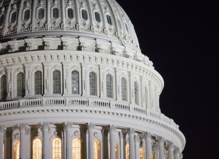 US Capitol building dome, details, at night, Washington DC, United States Stock Photo