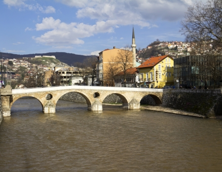Latin Bridge on Miljacka river in Sarajevo the capital city of Bosnia and Herzegovina  photo