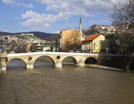 Latin Bridge on Miljacka river in Sarajevo the capital city of Bosnia and Herzegovina