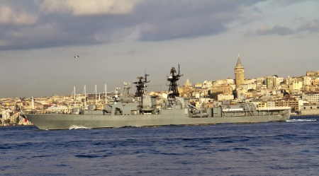 Russian warship passing through Bosphorus Istanbul, Turkey photo