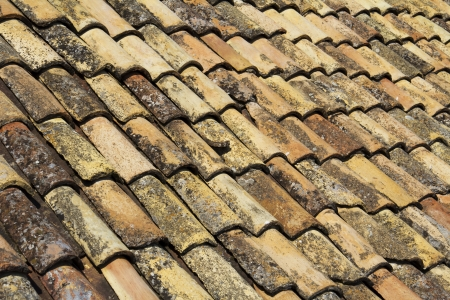 Old red brick roof tiles  photo