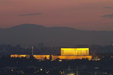 Ankara cityscape with mausoleum of Mustafa Kemal Ataturk, Ankara, Turkey   Stock Photo