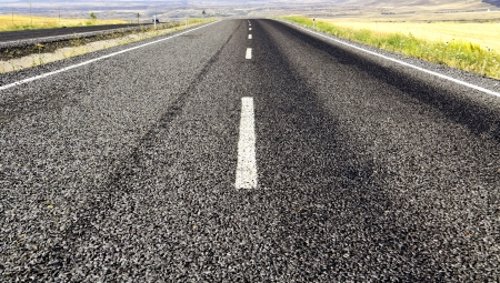 highway in steppe ,long road stretching out into the distance