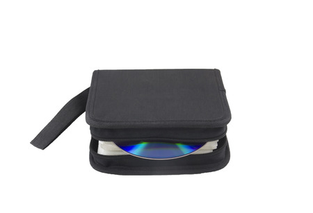 CD case with one compact disc, isolated, close up photo