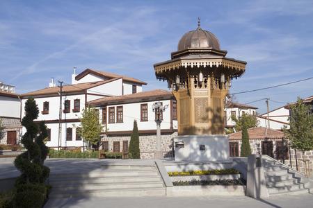 The fountain  Sebil , and historical Ankara houses, Ankara, Turkey  Stock Photo