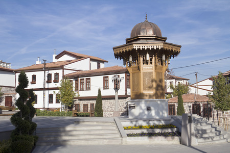 The fountain  Sebil , and historical Ankara houses, Ankara, Turkey  Stock Photo