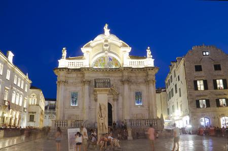 Church of Saint Blaise  St Vlaha  builted in 1715  Dubrovnik , Croatia, night view