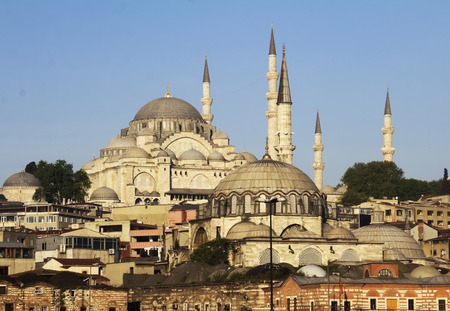 Istanbul in Turkey historic architecture, on the hill Suleymaniye Mosque (Ottoman imperial mosque), early morning photo