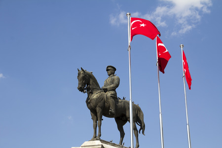 Statue of Ataturk founder of Turkey , ulus square Ankara