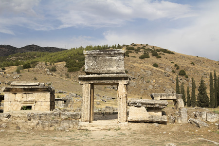 hierapolis: Ruins of the ancient city of Hierapolis,Turkey Stock Photo