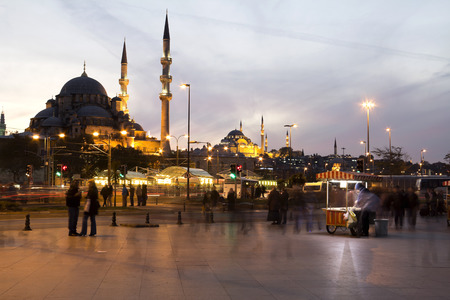 eminonu: Istanbul Eminonu, New Mosque, Turkey, at night Stock Photo