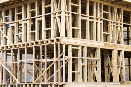 New Construction Wood Home Framing Stock Photo