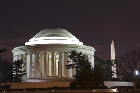 jefferson: National Mall, Thomas Jefferson Memorial and Washington Monument at night, Washington DC, United States of America