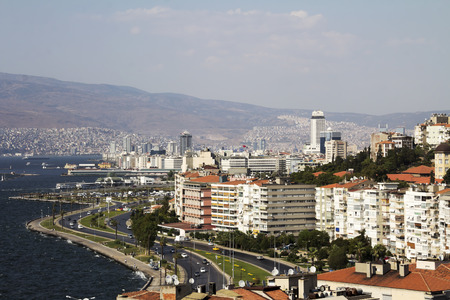 Alsancak coastline in city of Izmir, Turkey. Izmir is the third most populous city in Turkey. Stock fotó