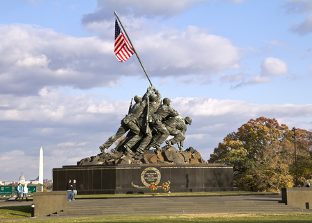 Iwo Jima Memorial Washington DC, USA. Memorial dedicated to all personnel of United States Marine Corps who have died in defense of their country since 1775.