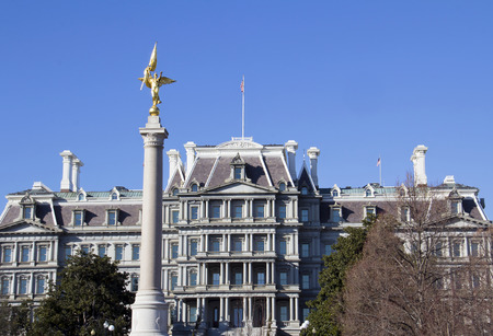 executive office: The First Division Monument, Washington DC. The monument with Old Executive Office Building on background.