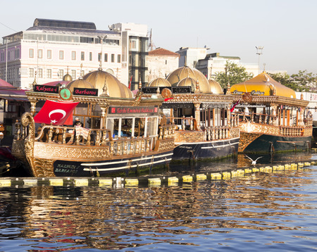 eminonu: Traditional fish restaurants at sea in Istanbul, Turkey. Traditional fish restaurants are symbol of Eminonu. Editorial