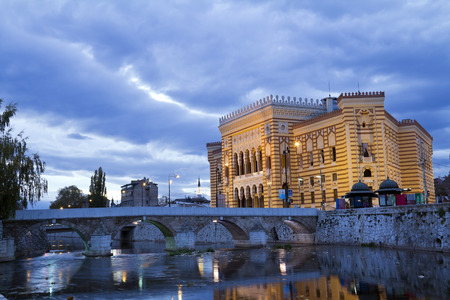 saraybosna: National library,in Sarajevo, capital city of Bosnia and Herzegovina, at night