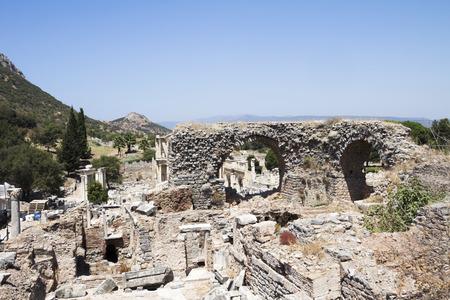 Ancient ruins in Ephesus Turkey - archeology Stock Photo