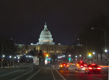 election night: United States Capitol Building at night