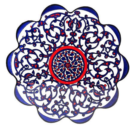 ottoman: Turkish Ottoman tile plate - isolated