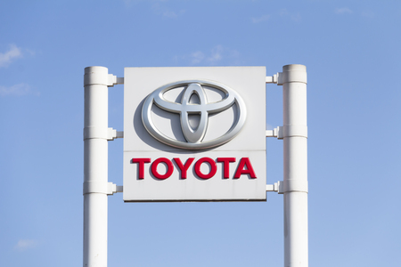Toyota logo in Ankara, Turkey. Toyota Motor Co. is the worlds largest to automobile manufacturer by sales and production headquartered in Toyota, Japan.