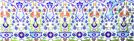 Turkish artistic wall tile at the Fatih Mosque in Izmir. Handmade Turkish Tiles impressive ancient.