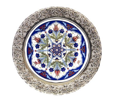 the historical: Historical Turkish tile plate - isolated