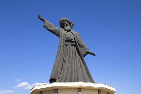 whirling: statue of famous Mevlana Rumi whirling dervish