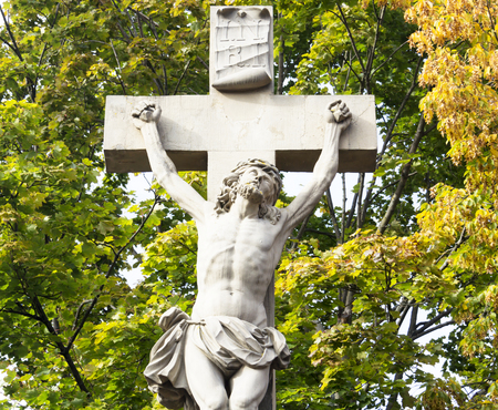 jesus statue: Outdoor Statue of Jesus Stock Photo