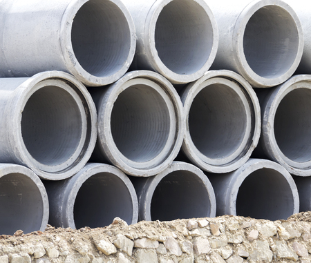 stacked: Concrete drainage pipes stacked