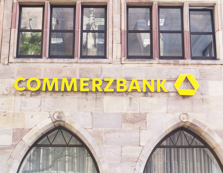 mortgaging: German Commerzbank is a global banking and financial services company. It is the second-largest German bank. September 19, 2015, Nurnberg, Germany Editorial