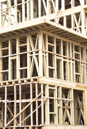 joists: New Construction Wood Home Framing Abstract. Stock Photo