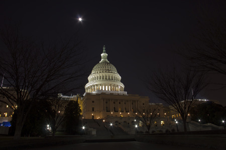 us capitol: With full moon US Capitol Building - Washington DC USA Stock Photo