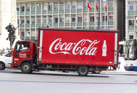 nonalcoholic: Photo of Coca cola truck.th Coca-Cola Company is an American beverage corporation and manufacturer of nonalcoholic beverage concentrates and Syrups.