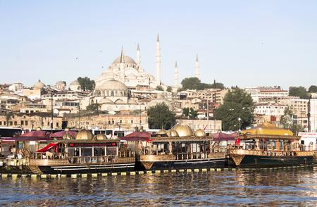eminonu: Traditional fish restaurants at sea in Istanbul, Turkey. Traditional fish restaurants are symbol of Eminonu. Stock Photo