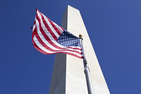 flickr: Washington Monument and waving United States flag, Washington DC United States of America