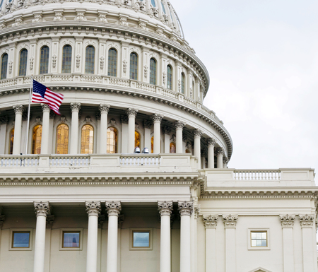 white light: Washington DC, Capitol dome details with American Flag flapping, United States of America