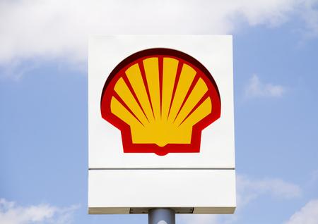 Emblem Shell Oil Company in Ankara, Turkey. Shell Oil Company is United States-based subsidiary of Royal Dutch Shell, a multinational oil company.
