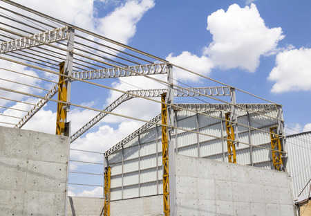 building structure: Steel frame structure building construction site