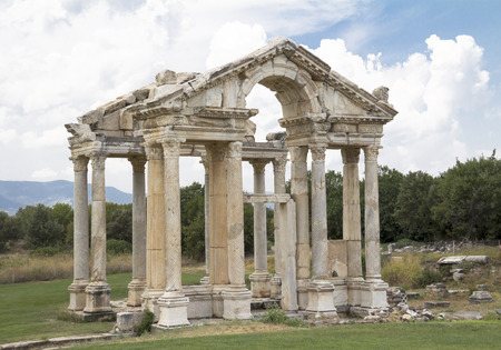 aphrodite: Roma tetrapylon gateway to the temple of Aphrodite, Aphrodisias, Geyre, Turkey Stock Photo