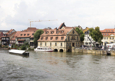 Regnitz River in the Little Venice in Bamberg in Upper Franconia, Bavaria, Germany.