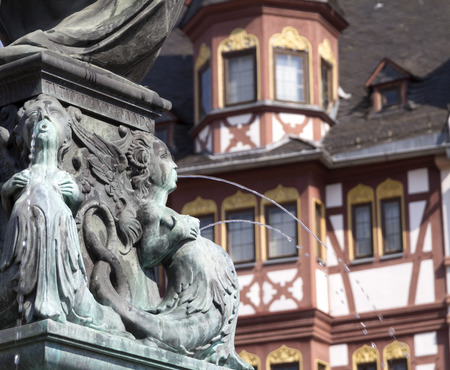 justitia: Frankfurt old town with the Justitia statue detail. germany