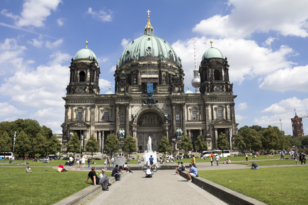 or spree: BERLIN, GERMANY - AUGUST 13, 2016: Berlin Cathedral (Berliner Dom) - famous landmark on the Museum Island in the Mitte district of Berlin. It was built between 1895 and 1905. Editorial