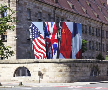 trials: NURNBERG, GERMANY- JULY 10, 2016: The courthouse in Nuremberg, where the Nuremberg trials took place, The Nuremberg trials were a series of military tribunalski, held by the Allied forces after WWII
