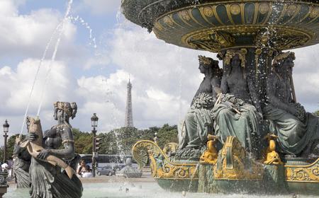 concorde: PARIS, FRANCE: View of the Place de la Concorde at Sunset- one of the major public squares in Paris.