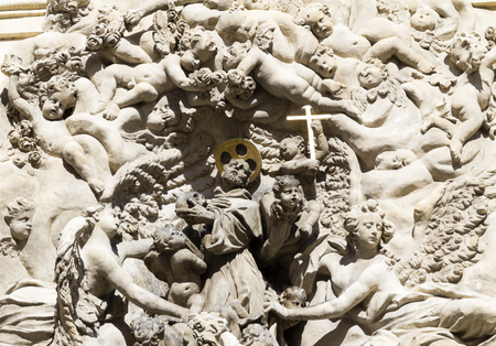 increased: Heaven, prague, czech republic, statues carved on the wall of the St. James Church in the old town