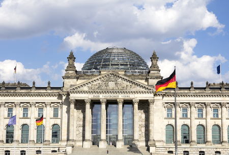 The Reichstag building, seat of the German Parliament (Deutscher Bundestag), in the Mitte district of Berlin, Germany