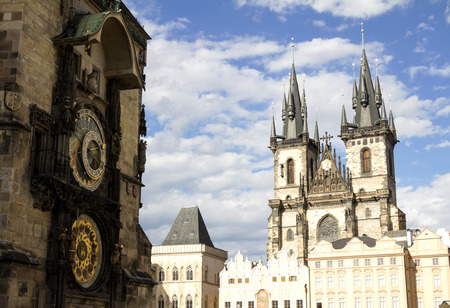 old town guildhall: the Old Town square with Tyn Church. Sunny sityscap in capital of Czech Republic - Prague,