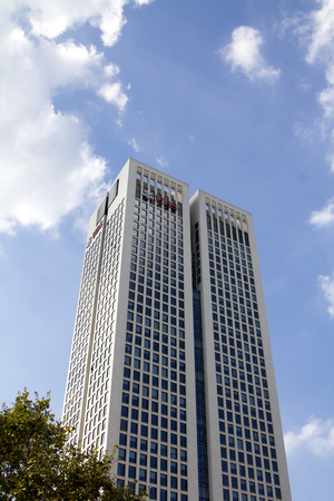 UBS building by Main River in Frankfurt, germany.ubs AG is a Swiss global financial services company.